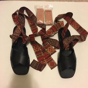 NWOT Zara Leather ribbons sandals Sz 36